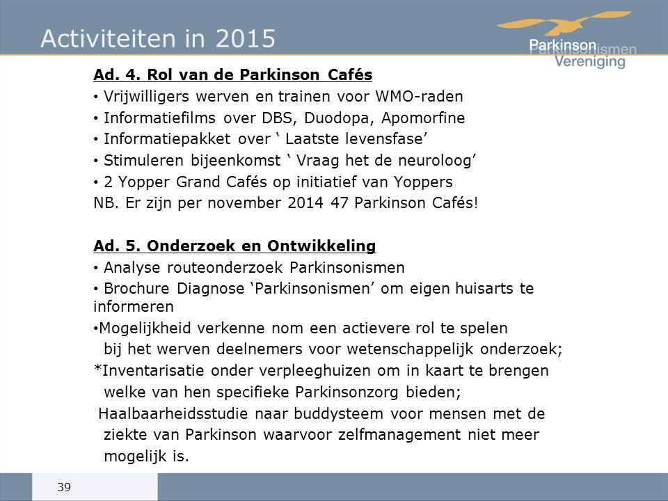 Activiteiten in 2015 Ad. 4.