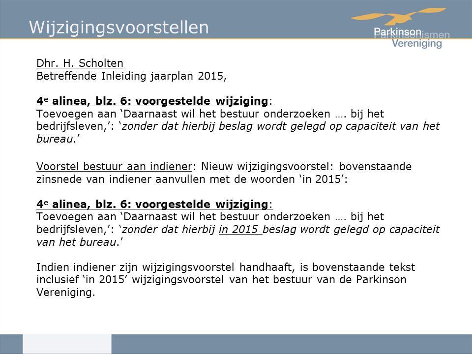 Wijzigingsvoorstellen Dhr. H. Scholten Betreffende Inleiding jaarplan 2015, 4 e alinea, blz.