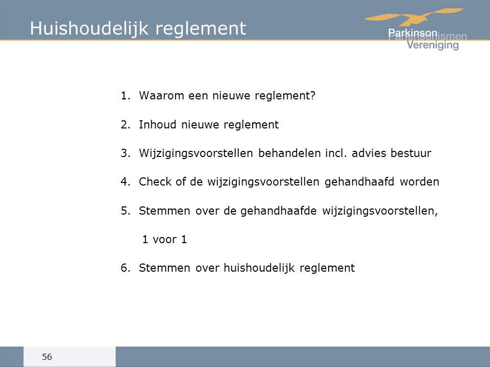1.Waarom een nieuwe reglement. 2.Inhoud nieuwe reglement 3.Wijzigingsvoorstellen behandelen incl.