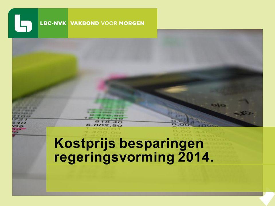 Kostprijs besparingen regeringsvorming 2014.