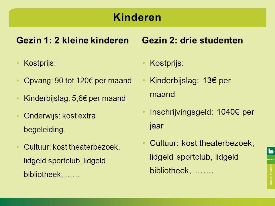 Gezin 1: 2 kleine kinderen Kostprijs: Opvang: 90 tot 120€ per maand Kinderbijslag: 5,6€ per maand Onderwijs: kost extra begeleiding.