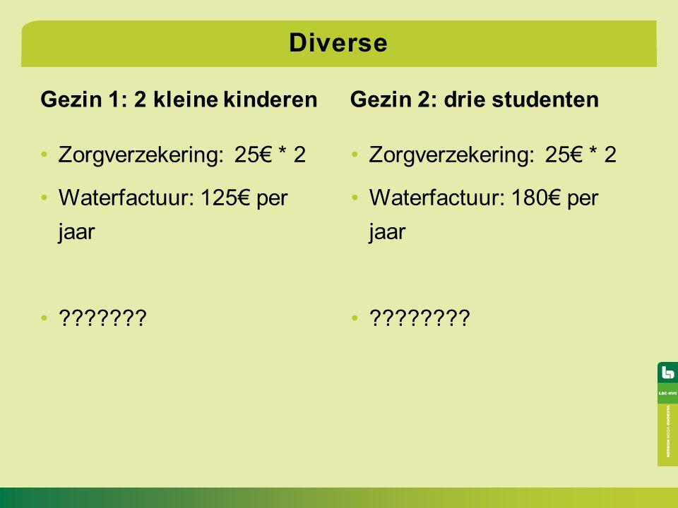 Gezin 1: 2 kleine kinderen Zorgverzekering: 25€ * 2 Waterfactuur: 125€ per jaar .