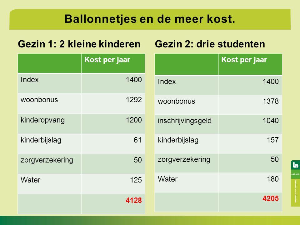 Gezin 1: 2 kleine kinderen Kost per jaar Index1400 woonbonus1292 kinderopvang1200 kinderbijslag61 zorgverzekering50 Water125 4128 Gezin 2: drie studenten Ballonnetjes en de meer kost.