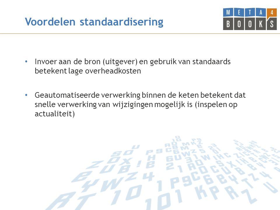 Voordelen standaardisering Invoer aan de bron (uitgever) en gebruik van standaards betekent lage overheadkosten Geautomatiseerde verwerking binnen de