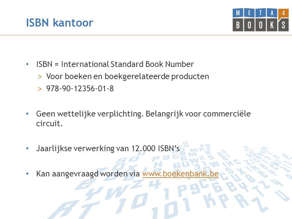ISBN kantoor ISBN = International Standard Book Number > Voor boeken en boekgerelateerde producten > 978-90-12356-01-8 Geen wettelijke verplichting.