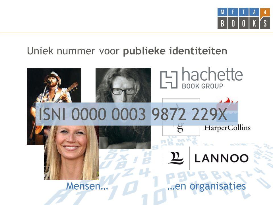 Uniek nummer voor publieke identiteiten Mensen……en organisaties ISNI 0000 0003 9872 229X