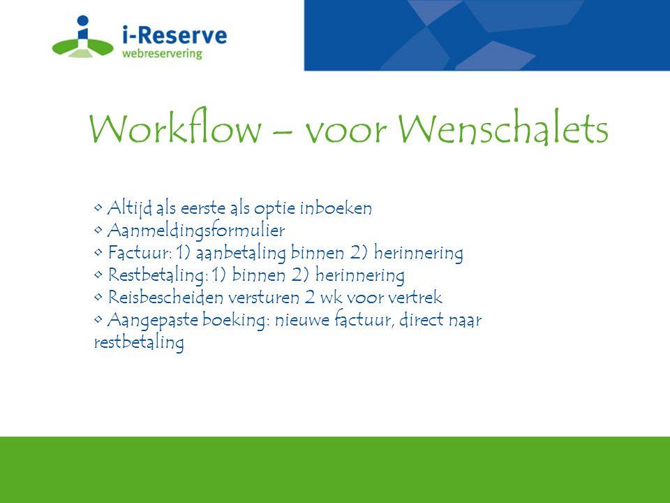 Workflow – voor Wenschalets Altijd als eerste als optie inboeken Aanmeldingsformulier Factuur: 1) aanbetaling binnen 2) herinnering Restbetaling: 1) b