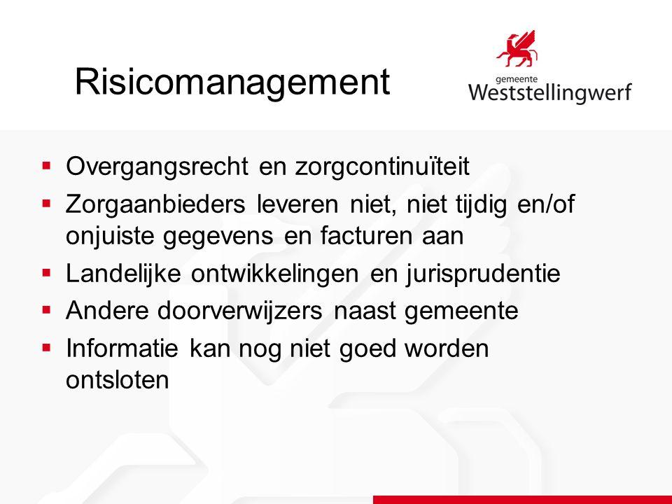 Risicomanagement  Overgangsrecht en zorgcontinuïteit  Zorgaanbieders leveren niet, niet tijdig en/of onjuiste gegevens en facturen aan  Landelijke