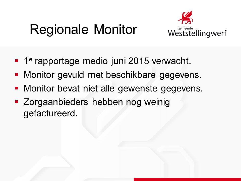  1 e rapportage medio juni 2015 verwacht.  Monitor gevuld met beschikbare gegevens.  Monitor bevat niet alle gewenste gegevens.  Zorgaanbieders he