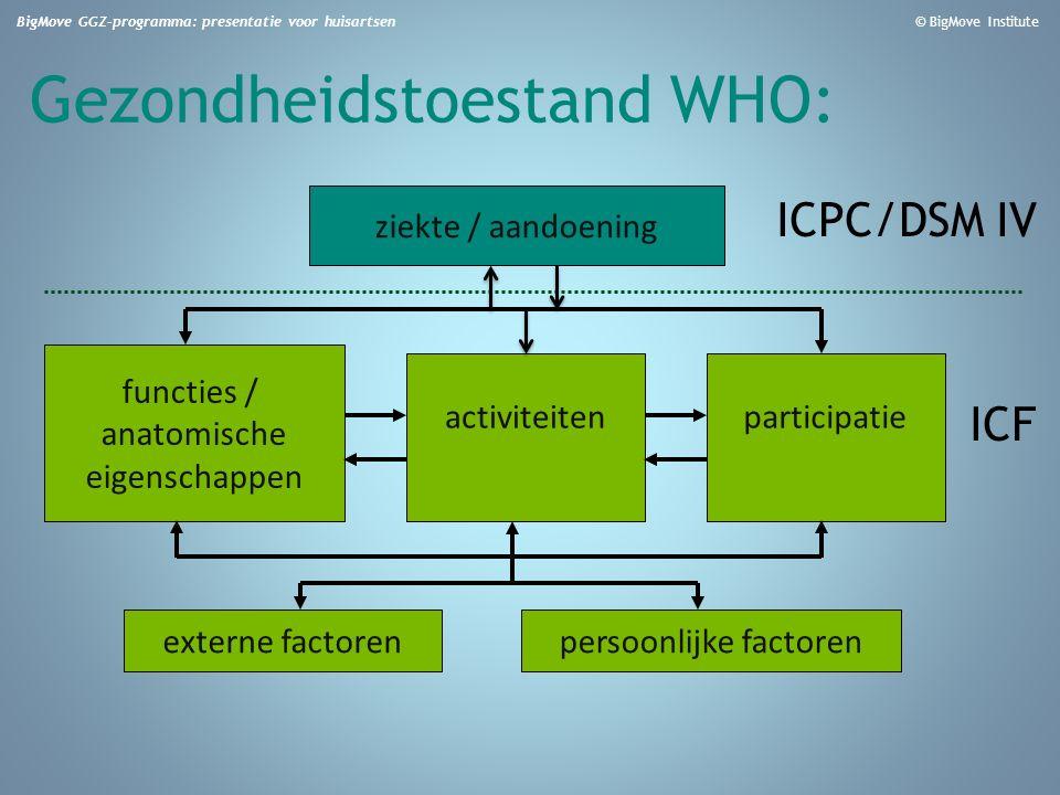 Gezondheidstoestand WHO: ICPC/DSM IV ICF ziekte / aandoening functies / anatomische eigenschappen activiteitenparticipatie externe factorenpersoonlijke factoren © BigMove InstituteBigMove GGZ-programma: presentatie voor huisartsen