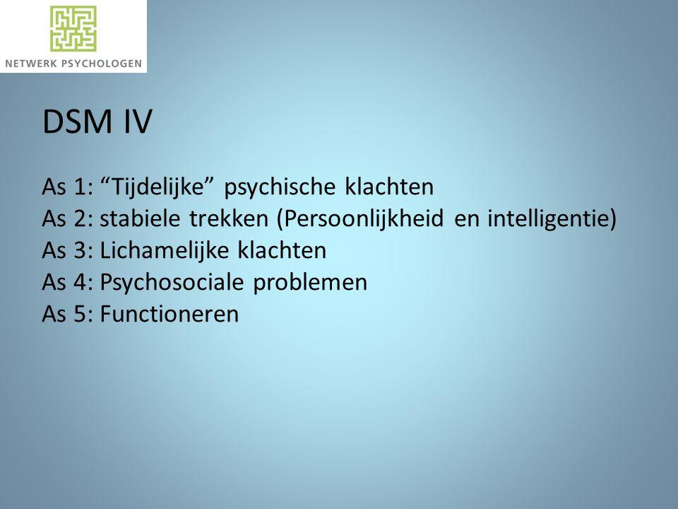 DSM IV As 1: Tijdelijke psychische klachten As 2: stabiele trekken (Persoonlijkheid en intelligentie) As 3: Lichamelijke klachten As 4: Psychosociale problemen As 5: Functioneren