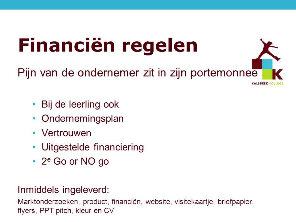 Financiën regelen Pijn van de ondernemer zit in zijn portemonnee Bij de leerling ook Ondernemingsplan Vertrouwen Uitgestelde financiering 2 e Go or NO