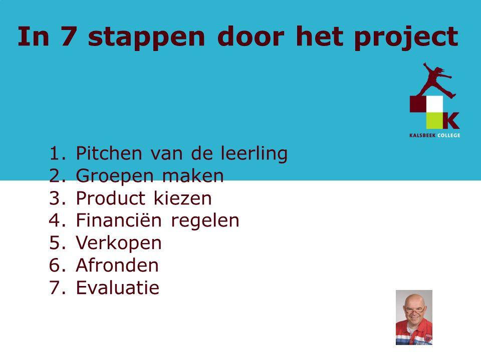 pagina In 7 stappen door het project 1.Pitchen van de leerling 2.Groepen maken 3.Product kiezen 4.Financiën regelen 5.Verkopen 6.Afronden 7.Evaluatie