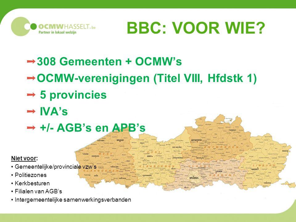 BBC: VOOR WIE? ➝ 308 Gemeenten + OCMW's ➝ OCMW-verenigingen (Titel VIII, Hfdstk 1) ➝ 5 provincies ➝ IVA's ➝ +/- AGB's en APB's Niet voor: Gemeentelijk