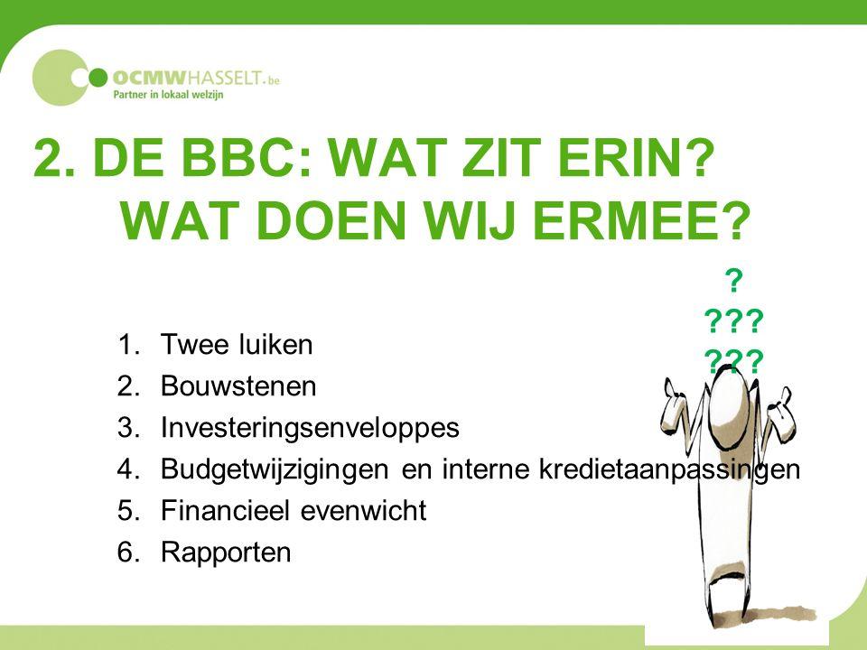 2. DE BBC: WAT ZIT ERIN? WAT DOEN WIJ ERMEE? 1.Twee luiken 2.Bouwstenen 3.Investeringsenveloppes 4.Budgetwijzigingen en interne kredietaanpassingen 5.
