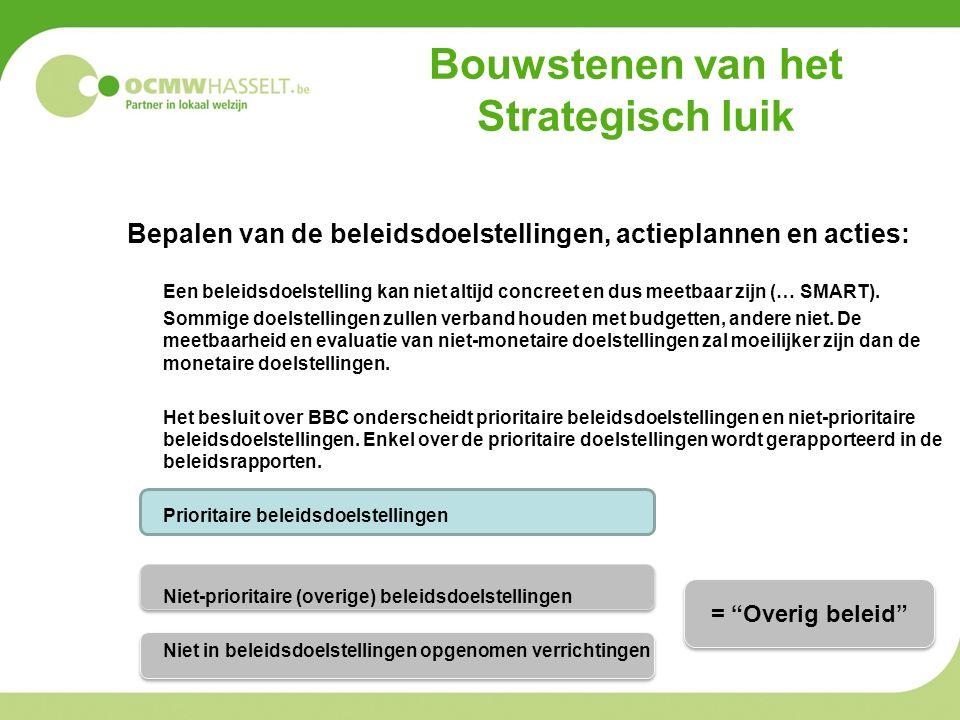 Bouwstenen van het Strategisch luik Bepalen van de beleidsdoelstellingen, actieplannen en acties: Een beleidsdoelstelling kan niet altijd concreet en dus meetbaar zijn (… SMART).