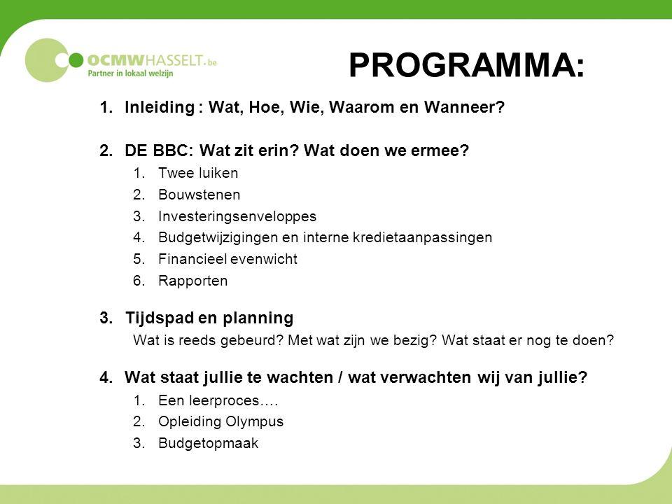 1.Inleiding : Wat, Hoe, Wie, Waarom en Wanneer? 2.DE BBC: Wat zit erin? Wat doen we ermee? 1.Twee luiken 2.Bouwstenen 3.Investeringsenveloppes 4.Budge
