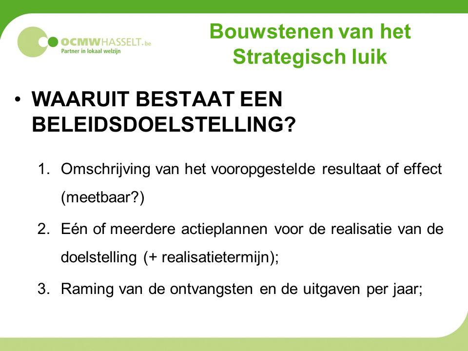 Bouwstenen van het Strategisch luik WAARUIT BESTAAT EEN BELEIDSDOELSTELLING? 1.Omschrijving van het vooropgestelde resultaat of effect (meetbaar?) 2.E