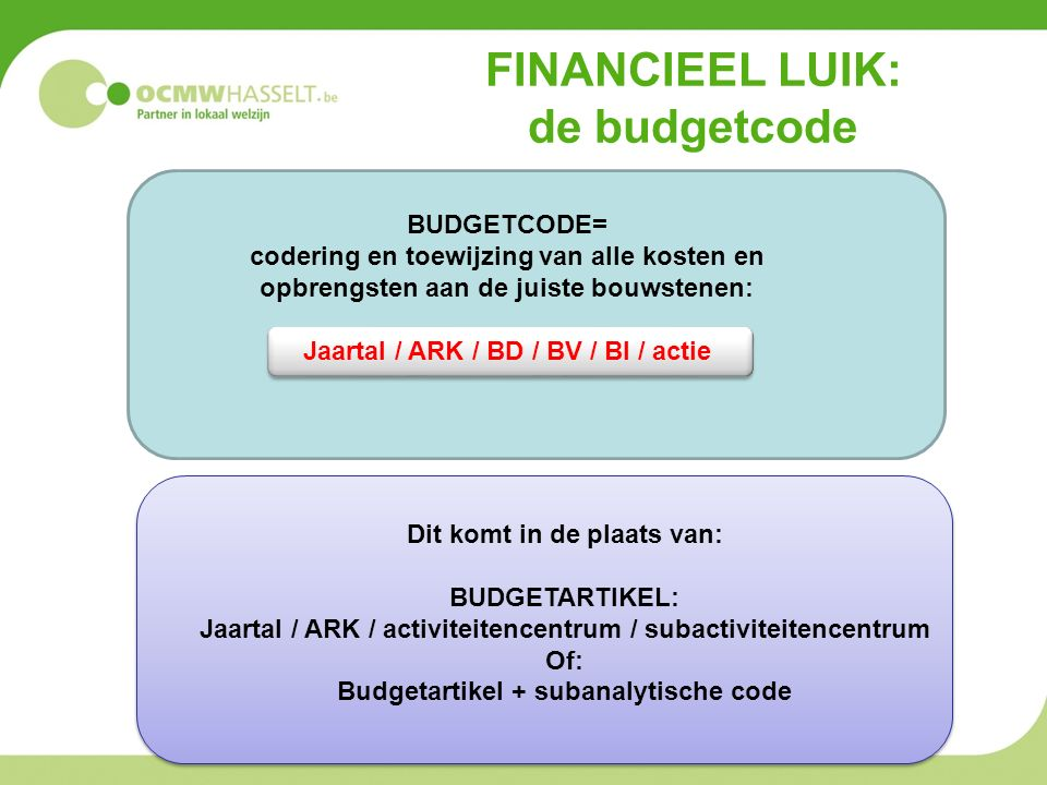 FINANCIEEL LUIK: de budgetcode Dit komt in de plaats van: BUDGETARTIKEL: Jaartal / ARK / activiteitencentrum / subactiviteitencentrum Of: Budgetartikel + subanalytische code BUDGETCODE= codering en toewijzing van alle kosten en opbrengsten aan de juiste bouwstenen: Jaartal / ARK / BD / BV / BI / actie