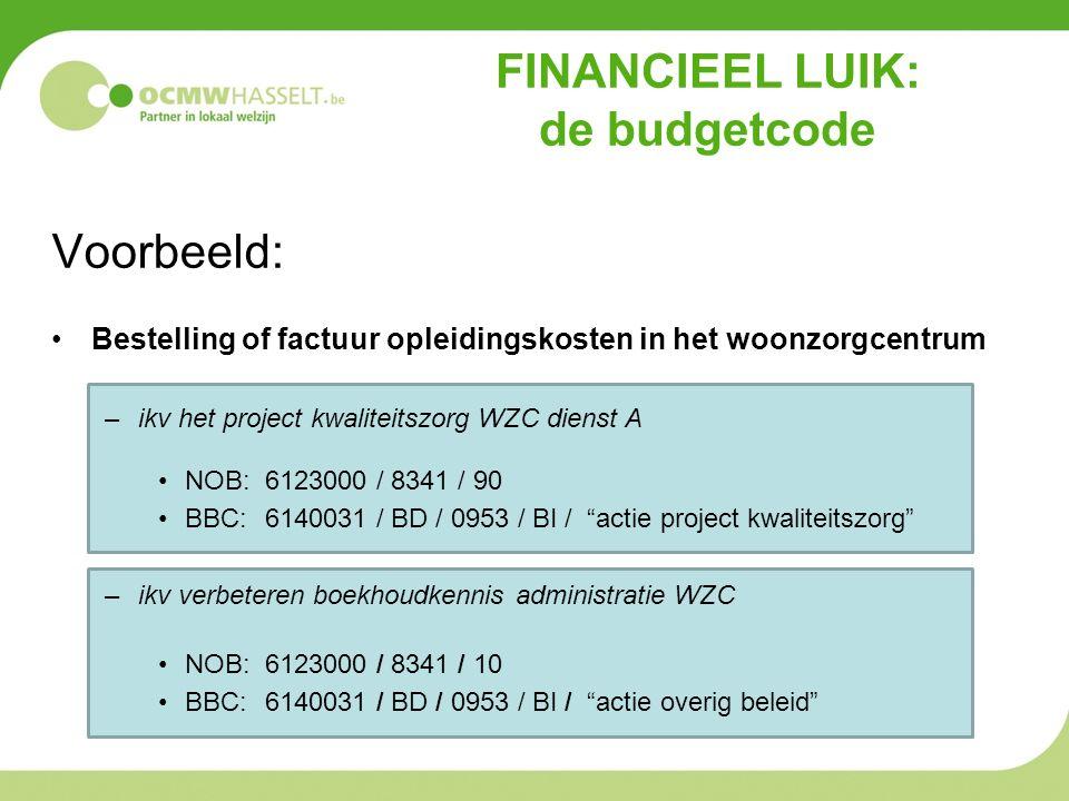 FINANCIEEL LUIK: de budgetcode Voorbeeld: Bestelling of factuur opleidingskosten in het woonzorgcentrum –ikv het project kwaliteitszorg WZC dienst A NOB: 6123000 / 8341 / 90 BBC: 6140031 / BD / 0953 / BI / actie project kwaliteitszorg –ikv verbeteren boekhoudkennis administratie WZC NOB: 6123000 / 8341 / 10 BBC: 6140031 / BD / 0953 / BI / actie overig beleid