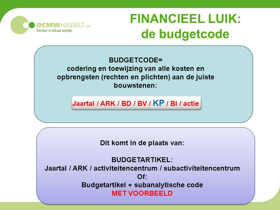 FINANCIEEL LUIK: de budgetcode Dit komt in de plaats van: BUDGETARTIKEL: Jaartal / ARK / activiteitencentrum / subactiviteitencentrum Of: Budgetartikel + subanalytische code MET VOORBEELD BUDGETCODE= codering en toewijzing van alle kosten en opbrengsten (rechten en plichten) aan de juiste bouwstenen: Jaartal / ARK / BD / BV / KP / BI / actie