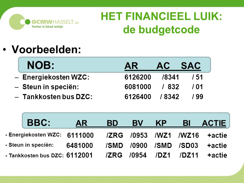 HET FINANCIEEL LUIK: de budgetcode Voorbeelden: NOB: AR AC SAC –Energiekosten WZC: 6126200 /8341 / 51 –Steun in speciën:6081000 / 832 / 01 –Tankkosten