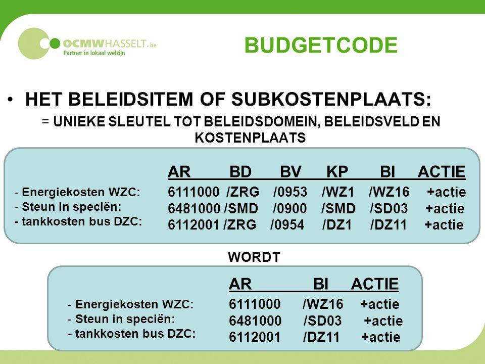 BUDGETCODE HET BELEIDSITEM OF SUBKOSTENPLAATS: = UNIEKE SLEUTEL TOT BELEIDSDOMEIN, BELEIDSVELD EN KOSTENPLAATS AR BD BV KP BI ACTIE 6111000 /ZRG /0953 /WZ1 /WZ16 +actie 6481000 /SMD /0900 /SMD /SD03 +actie 6112001 /ZRG /0954 /DZ1 /DZ11 +actie WORDT - Energiekosten WZC: - Steun in speciën: - tankkosten bus DZC: - Energiekosten WZC: - Steun in speciën: - tankkosten bus DZC: AR BI ACTIE 6111000 /WZ16 +actie 6481000 /SD03 +actie 6112001 /DZ11 +actie