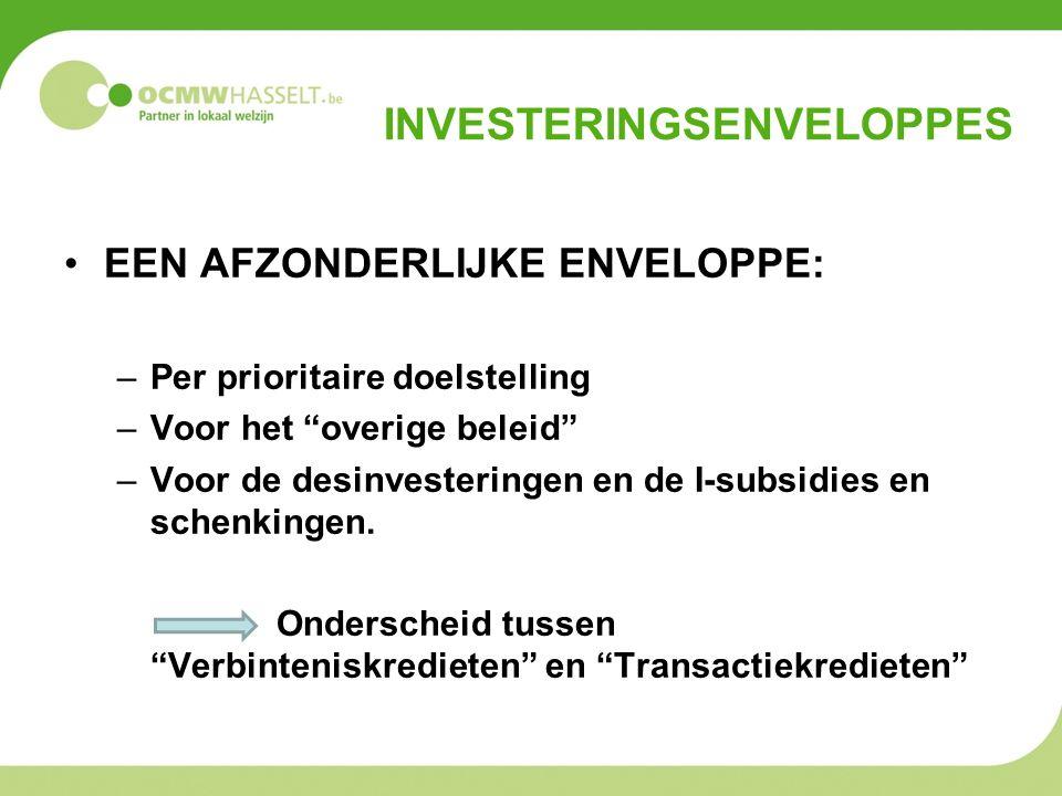 INVESTERINGSENVELOPPES EEN AFZONDERLIJKE ENVELOPPE: –Per prioritaire doelstelling –Voor het overige beleid –Voor de desinvesteringen en de I-subsidies en schenkingen.