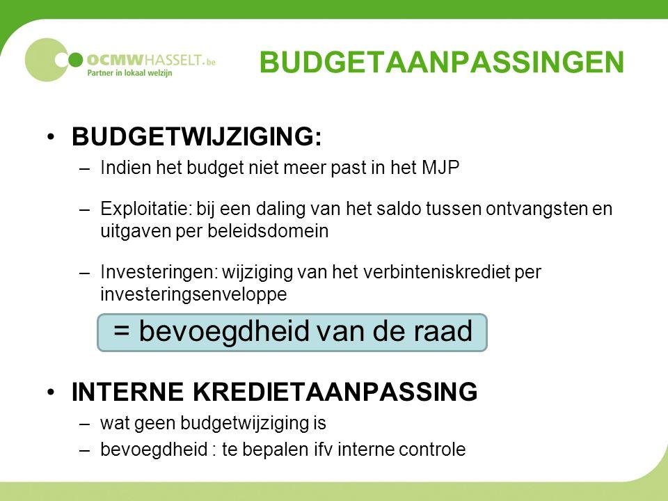 BUDGETAANPASSINGEN BUDGETWIJZIGING: –Indien het budget niet meer past in het MJP –Exploitatie: bij een daling van het saldo tussen ontvangsten en uitgaven per beleidsdomein –Investeringen: wijziging van het verbinteniskrediet per investeringsenveloppe = bevoegdheid van de raad INTERNE KREDIETAANPASSING –wat geen budgetwijziging is –bevoegdheid : te bepalen ifv interne controle
