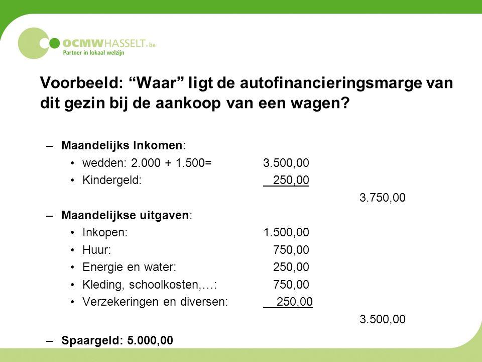 """Voorbeeld: """"Waar"""" ligt de autofinancieringsmarge van dit gezin bij de aankoop van een wagen? –Maandelijks Inkomen: wedden: 2.000 + 1.500=3.500,00 Kind"""