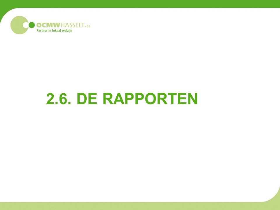 2.6. DE RAPPORTEN