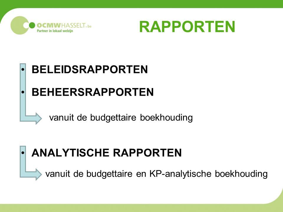 RAPPORTEN BELEIDSRAPPORTEN BEHEERSRAPPORTEN vanuit de budgettaire boekhouding ANALYTISCHE RAPPORTEN vanuit de budgettaire en KP-analytische boekhoudin