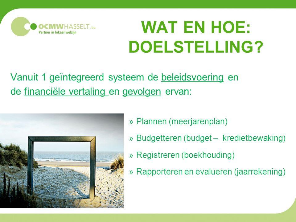 WAT EN HOE: DOELSTELLING? Vanuit 1 geïntegreerd systeem de beleidsvoering en de financiële vertaling en gevolgen ervan: »Plannen (meerjarenplan) »Budg