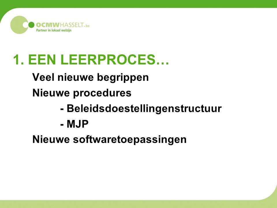 1. EEN LEERPROCES… Veel nieuwe begrippen Nieuwe procedures - Beleidsdoestellingenstructuur - MJP Nieuwe softwaretoepassingen