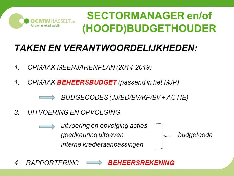 SECTORMANAGER en/of (HOOFD)BUDGETHOUDER TAKEN EN VERANTWOORDELIJKHEDEN: 1.OPMAAK MEERJARENPLAN (2014-2019) 1.OPMAAK BEHEERSBUDGET (passend in het MJP) BUDGECODES (JJ/BD/BV/KP/BI/ + ACTIE) 3.UITVOERING EN OPVOLGING uitvoering en opvolging acties goedkeuring uitgavenbudgetcode interne kredietaanpassingen 4.RAPPORTERINGBEHEERSREKENING