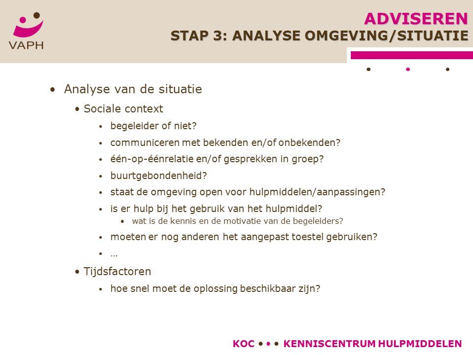 KENNISCENTRUM HULPMIDDELENKOC Analyse van de situatie Sociale context begeleider of niet.