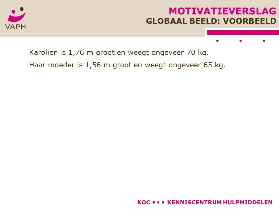 KENNISCENTRUM HULPMIDDELENKOC Karolien is 1,76 m groot en weegt ongeveer 70 kg.