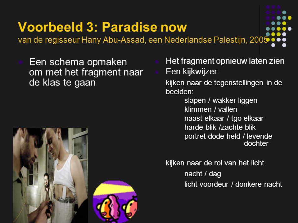 insp-beg RKG Antwerpen Voorbeeld 3: Paradise now van de regisseur Hany Abu-Assad, een Nederlandse Palestijn, 2005 Een schema opmaken om met het fragment naar de klas te gaan Het fragment opnieuw laten zien Een kijkwijzer: kijken naar de tegenstellingen in de beelden: slapen / wakker liggen klimmen / vallen naast elkaar / tgo elkaar harde blik /zachte blik portret dode held / levende dochter kijken naar de rol van het licht nacht / dag licht voordeur / donkere nacht