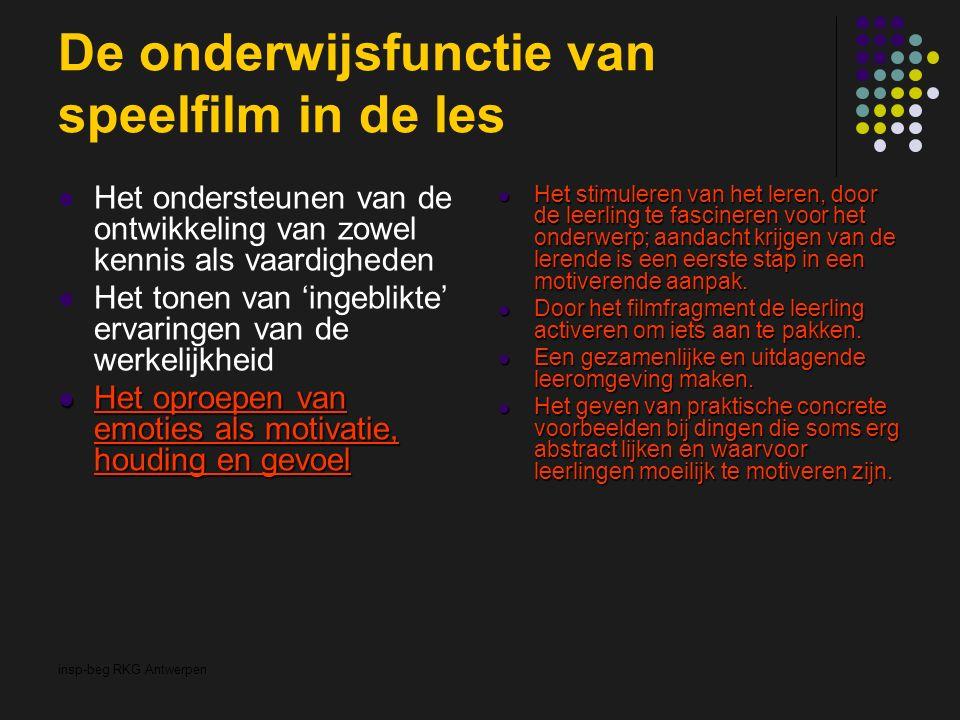 insp-beg RKG Antwerpen De onderwijsfunctie van speelfilm in de les Het ondersteunen van de ontwikkeling van zowel kennis als vaardigheden Het tonen van 'ingeblikte' ervaringen van de werkelijkheid Het oproepen van emoties als motivatie, houding en gevoel Het oproepen van emoties als motivatie, houding en gevoel Het stimuleren van het leren, door de leerling te fascineren voor het onderwerp; aandacht krijgen van de lerende is een eerste stap in een motiverende aanpak.