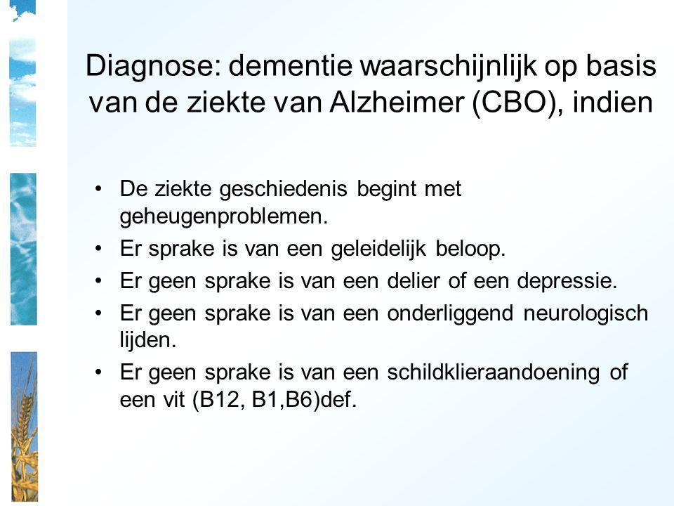 Diagnose: dementie waarschijnlijk op basis van de ziekte van Alzheimer (CBO), indien De ziekte geschiedenis begint met geheugenproblemen. Er sprake is