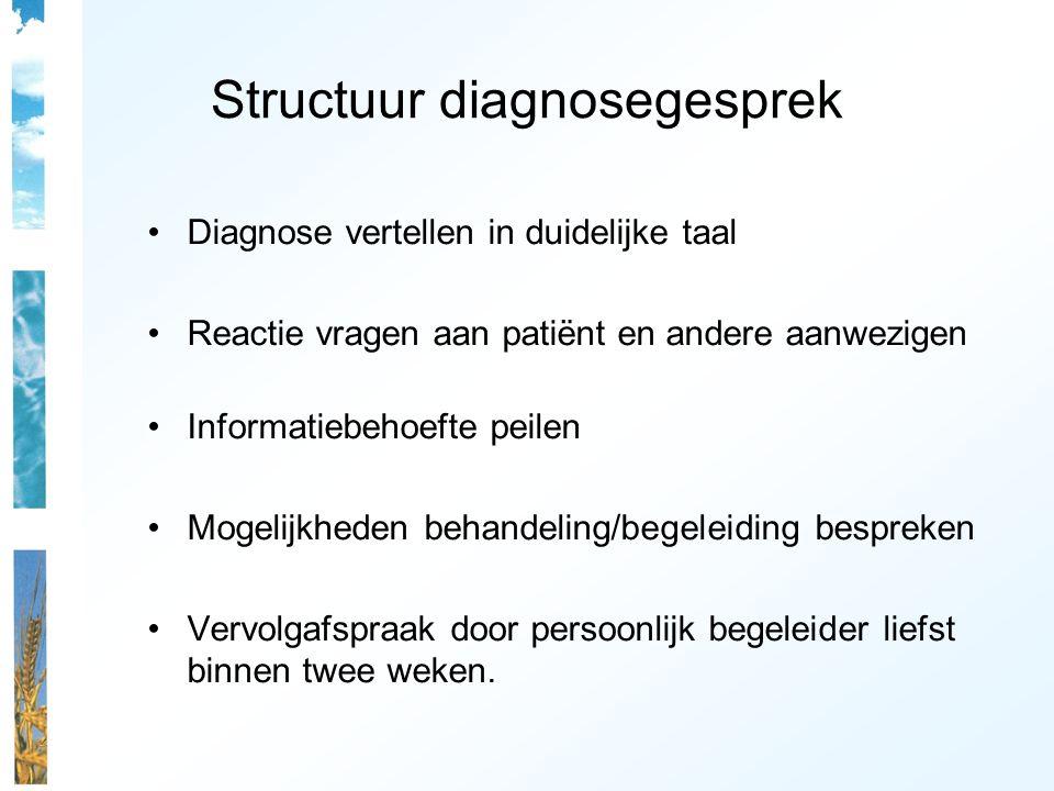 Structuur diagnosegesprek Diagnose vertellen in duidelijke taal Reactie vragen aan patiënt en andere aanwezigen Informatiebehoefte peilen Mogelijkhede