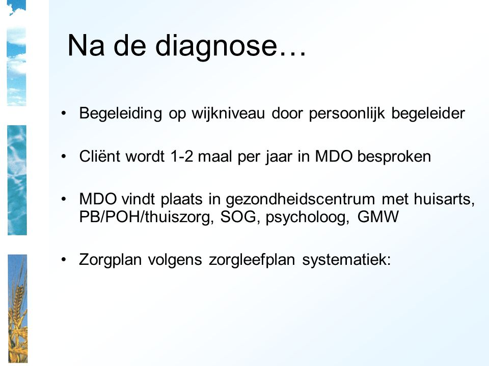 Na de diagnose… Begeleiding op wijkniveau door persoonlijk begeleider Cliënt wordt 1-2 maal per jaar in MDO besproken MDO vindt plaats in gezondheidscentrum met huisarts, PB/POH/thuiszorg, SOG, psycholoog, GMW Zorgplan volgens zorgleefplan systematiek: