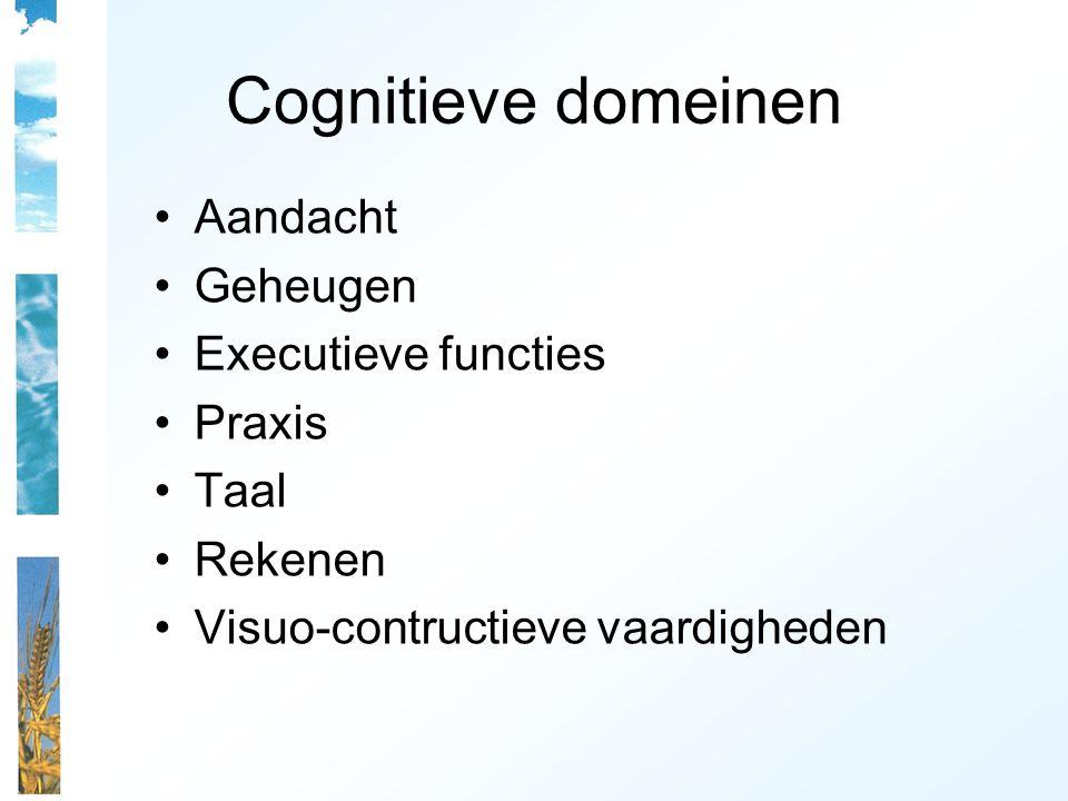 Cognitieve domeinen Aandacht Geheugen Executieve functies Praxis Taal Rekenen Visuo-contructieve vaardigheden