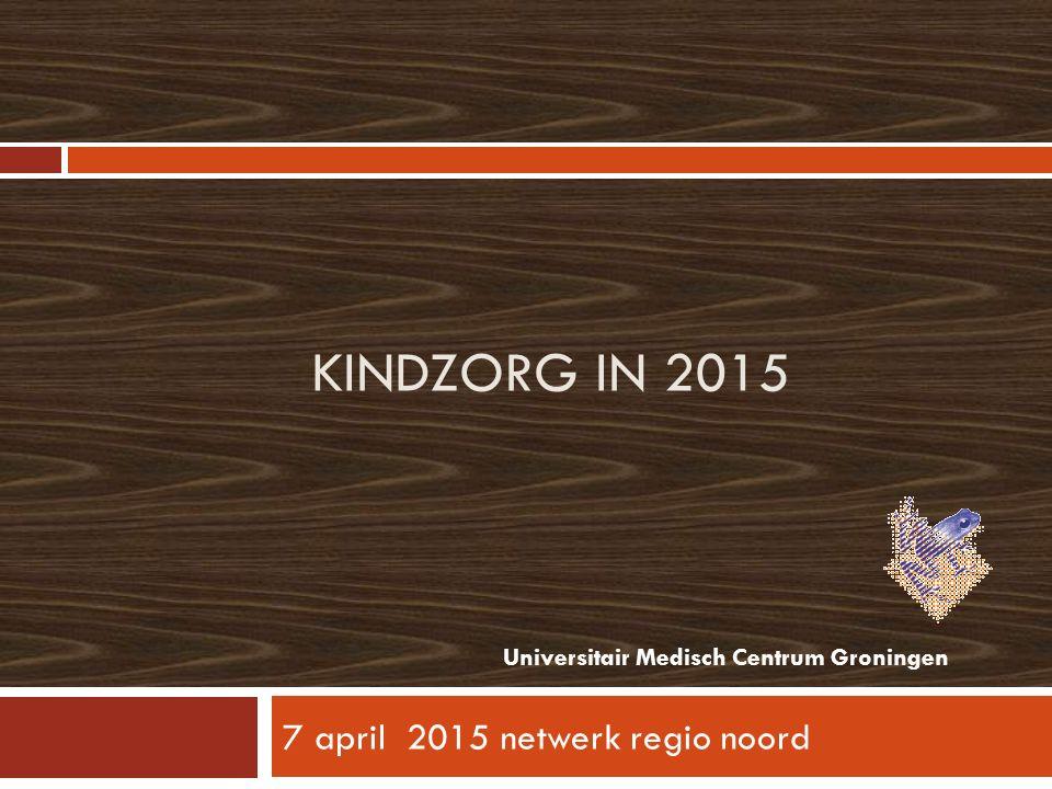 KINDZORG IN 2015 7 april 2015 netwerk regio noord Universitair Medisch Centrum Groningen