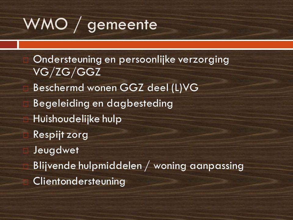 WMO / gemeente  Ondersteuning en persoonlijke verzorging VG/ZG/GGZ  Beschermd wonen GGZ deel (L)VG  Begeleiding en dagbesteding  Huishoudelijke hu