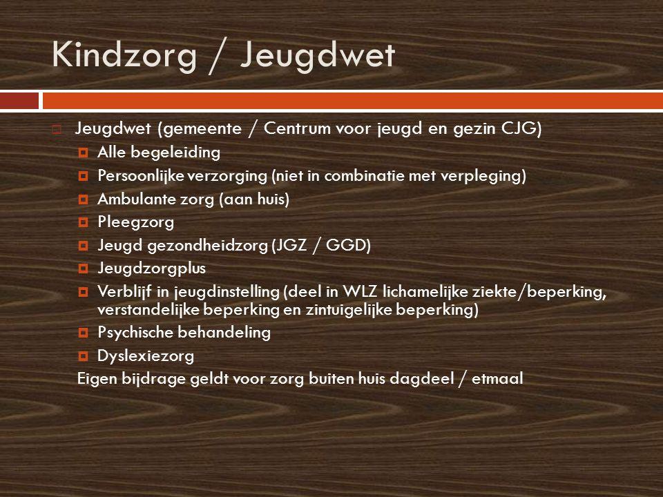 Kindzorg / Jeugdwet  Jeugdwet (gemeente / Centrum voor jeugd en gezin CJG)  Alle begeleiding  Persoonlijke verzorging (niet in combinatie met verpl