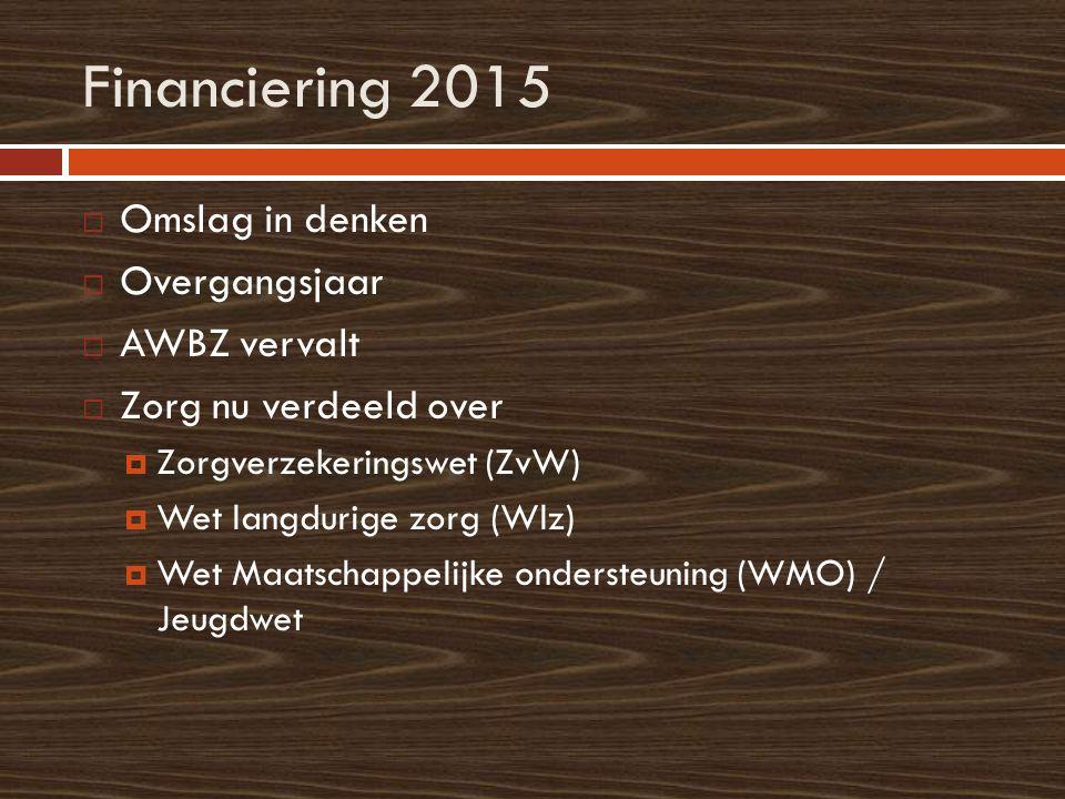 Financiering 2015  Omslag in denken  Overgangsjaar  AWBZ vervalt  Zorg nu verdeeld over  Zorgverzekeringswet (ZvW)  Wet langdurige zorg (Wlz) 