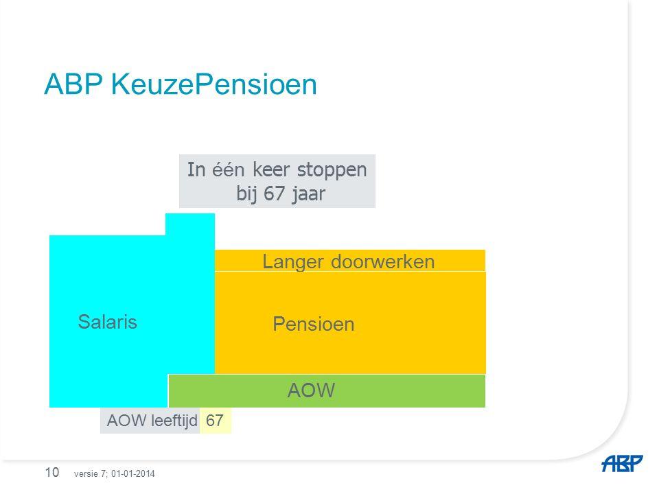 ABP KeuzePensioen 10 AOW leeftijd 67 In één keer stoppen bij 67 jaar Langer doorwerken Salaris AOW Pensioen versie 7; 01-01-2014