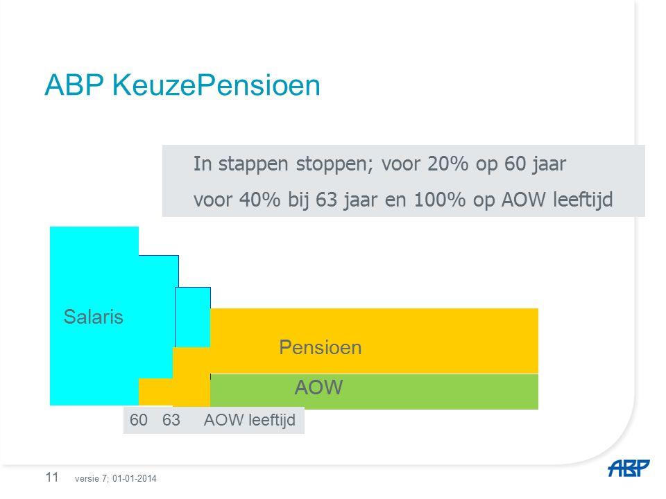 ABP KeuzePensioen 11 In stappen stoppen; voor 20% op 60 jaar voor 40% bij 63 jaar en 100% op AOW leeftijd Salaris AOW Pensioen In stappen stoppen; voor 20% op 60 jaar voor 40% bij 63 jaar en 100% op AOW leeftijd 60 63 AOW leeftijd Salaris AOW Pensioen versie 7; 01-01-2014