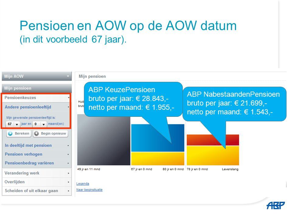 Pensioen en AOW op de AOW datum (in dit voorbeeld 67 jaar).